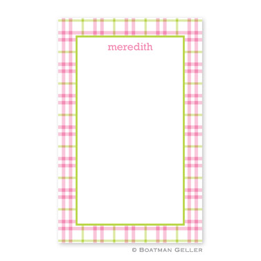 Miller Check Pink & Green Notepad