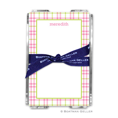 Miller Check Pink & Green Note Sheets in Acrylic Holder