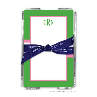 Stripe Kelly & Bubblegum Note Sheets in Acrylic Holder