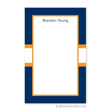 Stripe Navy & Tangerine Notepad
