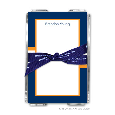 Stripe Navy & Tangerine Note Sheets in Acrylic Holder