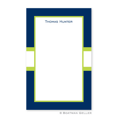 Stripe Navy & Lime Notepad