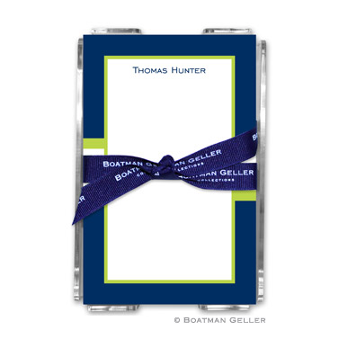 Stripe Navy & Lime Note Sheets in Acrylic Holder
