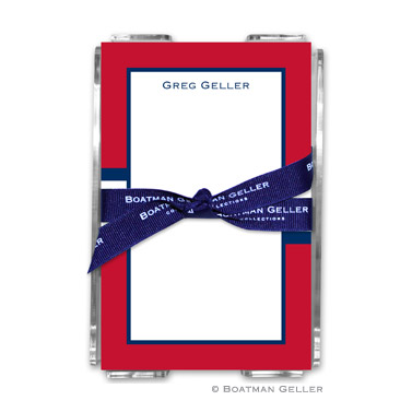 Stripe Red & Navy Note Sheets in Acrylic Holder