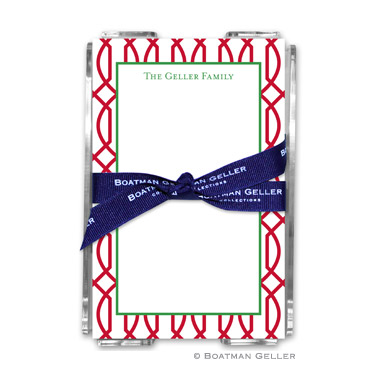 Trellis Reverse Cherry Holiday Note Sheet with Acrylic Holder