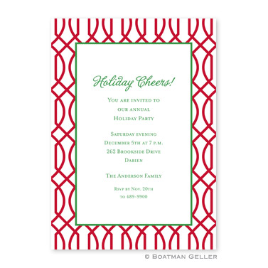 Trellis Reverse Cherry Flat Holiday Invitation