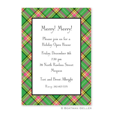Preppy Plaid Flat Holiday Invitation