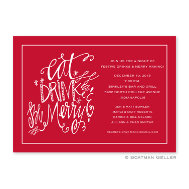 Eat Drink Be Merry Flat Holiday Invitation