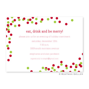 Confetti Red & Green Flat Holiday Invitation