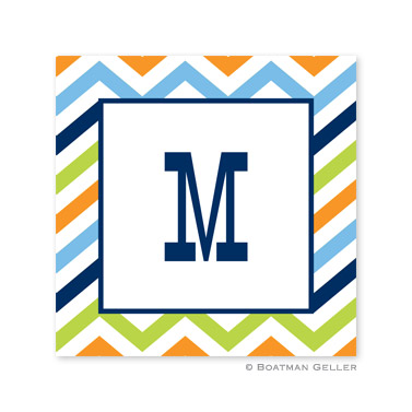 Chevron Blue, Orange & Lime Square Sticker