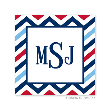 Chevron Blue & Red Square Sticker