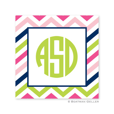 Chevron Pink, Navy & Lime Square Sticker