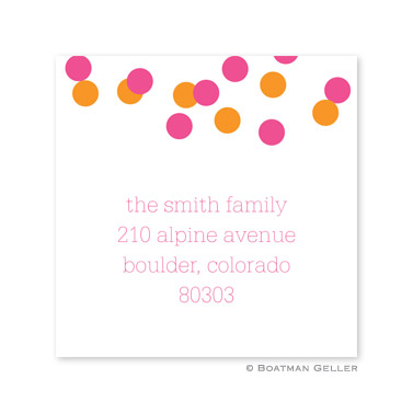 Confetti Pink & Orange Holiday Square Sticker