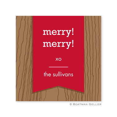 Faux Bois Cherry Holiday Square Sticker