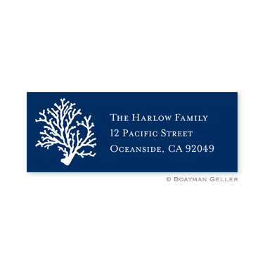 Coral Repeat Navy Holiday Address Label