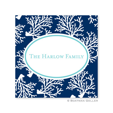 Coral Repeat Navy Holiday Square Sticker