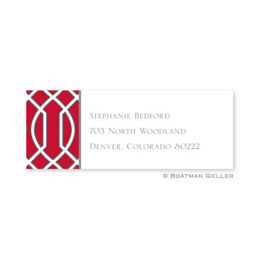 Trellis Red & Gray Holiday Address Label