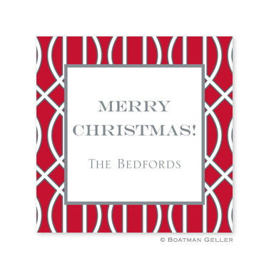 Trellis Red & Gray Holiday Square Sticker