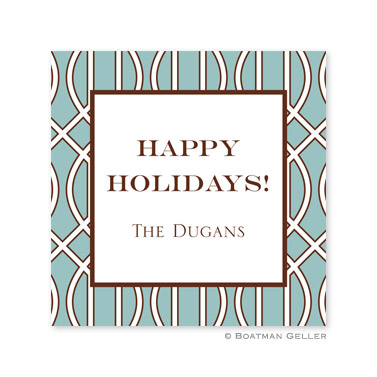 Trellis Slate & Brown Holiday Square Sticker