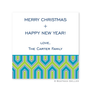 Blaine Turquoise Holiday Square Sticker