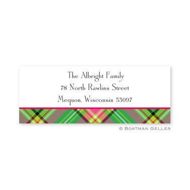 Preppy Plaid Holiday Address Label