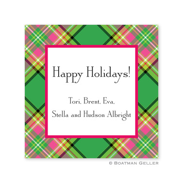 Preppy Plaid Holiday Square Sticker