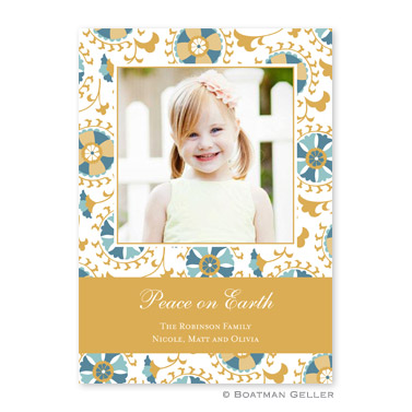 Suzani Gold Flat Holiday Photocard