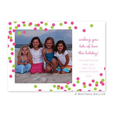 Confetti Pink & Green Flat Holiday Photocard
