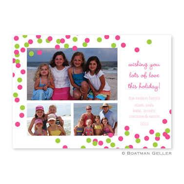 Confetti Pink & Green Flat Holiday Photocard