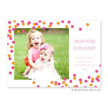 Confetti Pink & Orange Flat Holiday Photocard by Boatman Geller