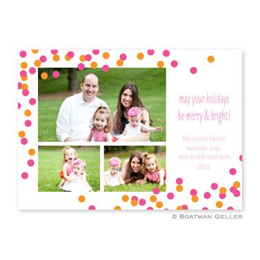 Confetti Pink & Orange Flat Holiday Photocard