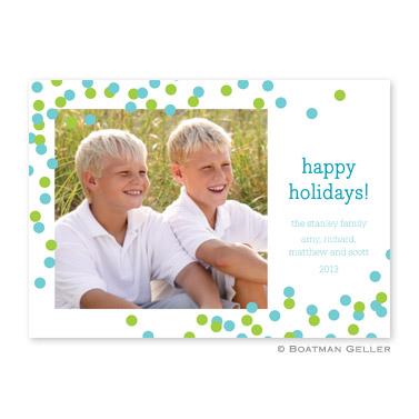 Confetti Teal & Green Flat Holiday Photocard