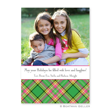 Preppy Plaid Flat Holiday Photocard