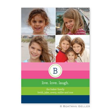 Bold Stripe Options Flat Holiday Photocard