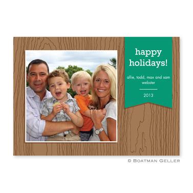 Faux Bois Emerald Flat Holiday Photocard