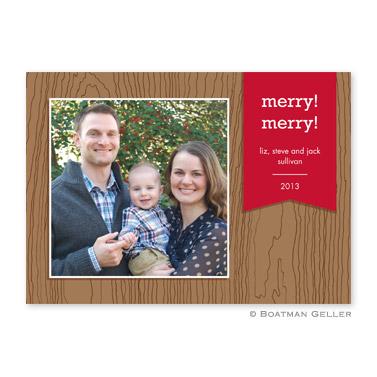 Faux Bois Cherry Flat Holiday Photocard