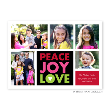 Peace Joy Love Black Flat Holiday Photocard