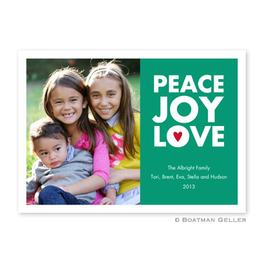 Peace Joy Love Emerald Flat Holiday Photocard