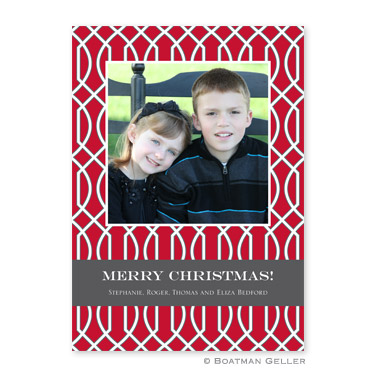 Trellis Red & Gray Flat Holiday Photocard