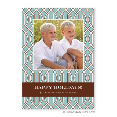Trellis Slate & Brown Flat Holiday Photocard