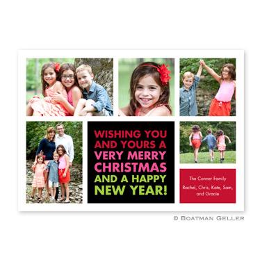 Christmas Wishes Black Flat Holiday Photocard