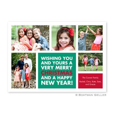 Christmas Wishes Emerald Flat Holiday Photocard