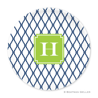 Bamboo Navy & Green Personalized Plate