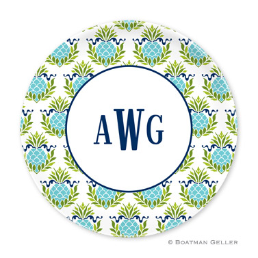 Pineapple Repeat Teal Personalized Plate