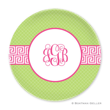 Greek Key Band Pink Personalized Plate