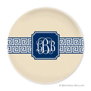 Greek Key Band Navy Personalized Plate