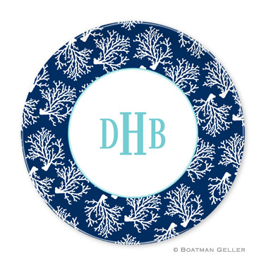 Coral Repeat Navy Personalized Plate