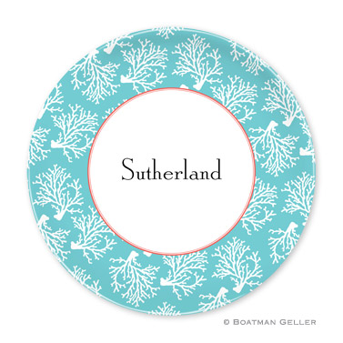 Coral Repeat Teal Personalized Plate