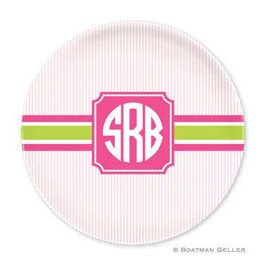 Seersucker Band Pink & Green Personalized Plate