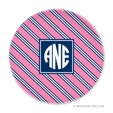 Repp Tie Pink & Navy Personalized Plate
